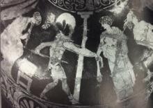 Greek vase painting of dancers